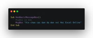 MsgBox cơ bản trong Excel VBA