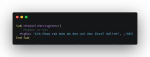 MsgBox trong Excel VBA với tiêu đề