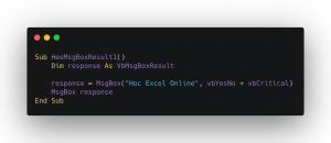 Code kiểm tra người dùng lựa chọn nút gì trên MsgBox