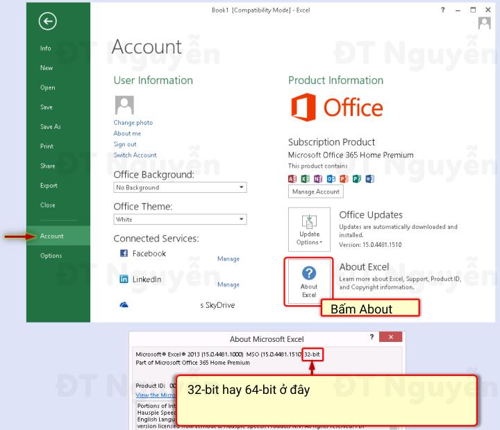 Excel 2013 bản 32bits hay 64bits để cài đặt Power Query