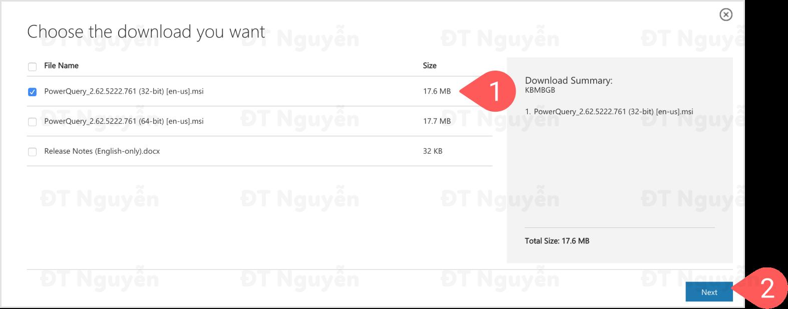 Chọn đúng phiên bản Power Query để download và cài đặt