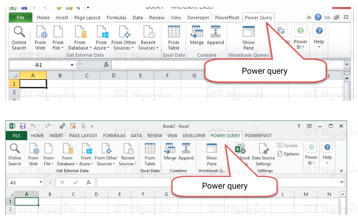 Power Query trên ribbon Excel 2010, Excel 2013, cách cài đặt Power Query trong Excel
