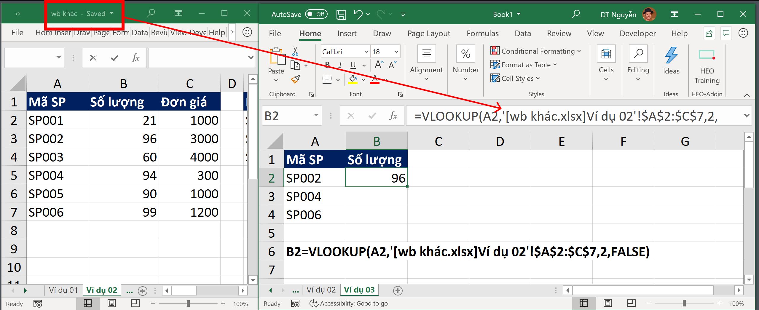 Tra cứu dữ liệu từ file Excel khác