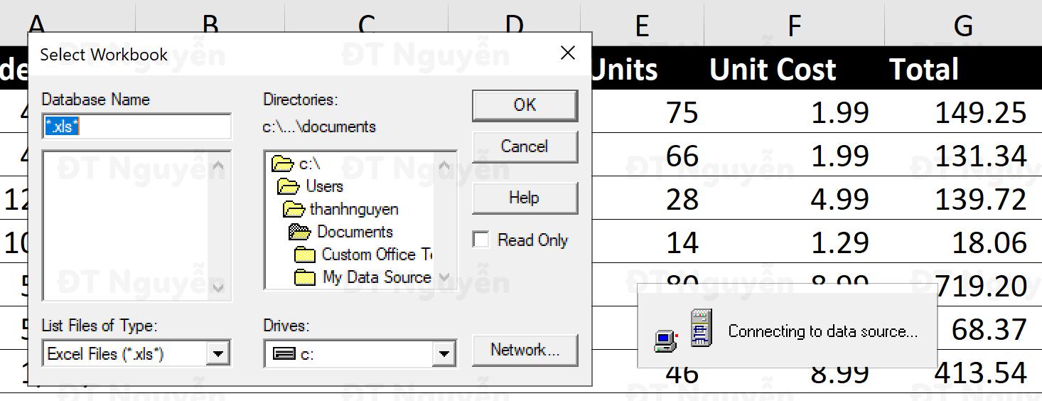 Chọn đường dẫn tới file Excel để sử dụng Power Query
