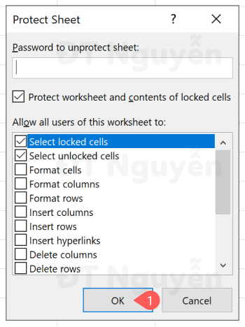 Cửa sổ thiết lập Protect Sheet