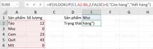 Kết hợp hàm VLOOKUP và hàm IF trong Excel