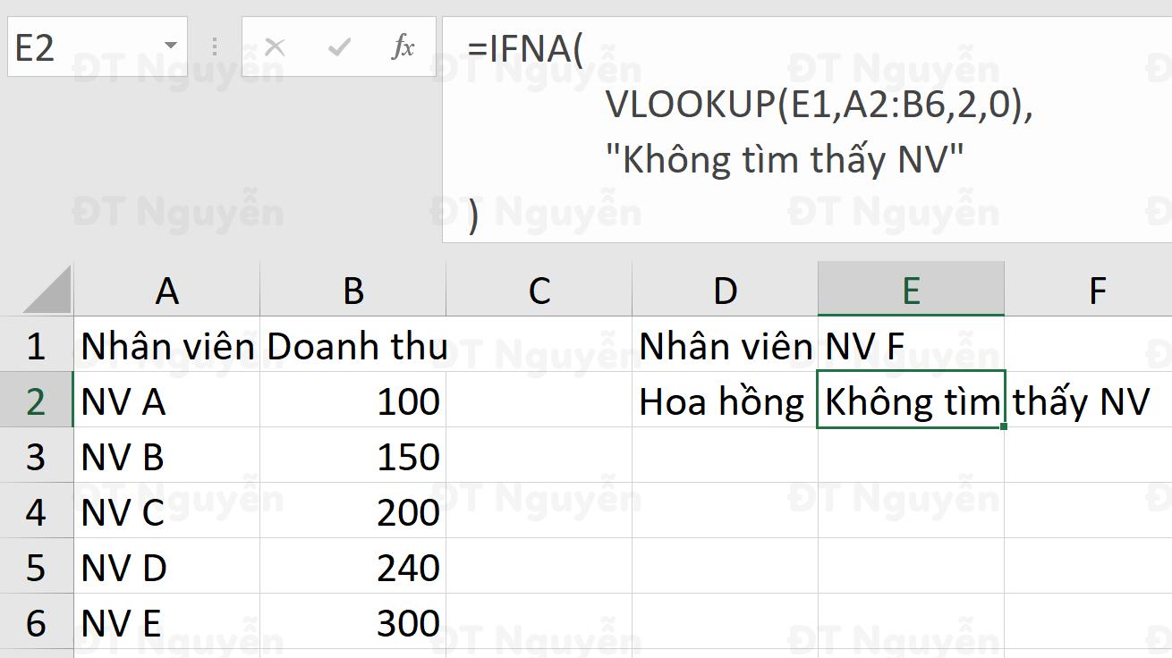 Cách kết hợp hàm vlookup và ifna