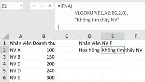 Kết hợp hàm VLOOKUP và hàm IFNA