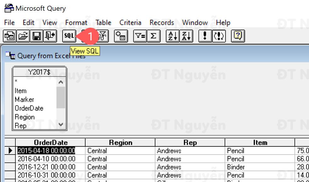 Cách truy cập vào Microsoft Query trong Excel
