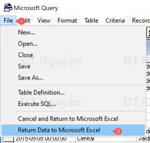Đổ dữ liệu từ Microsoft Query về Excel