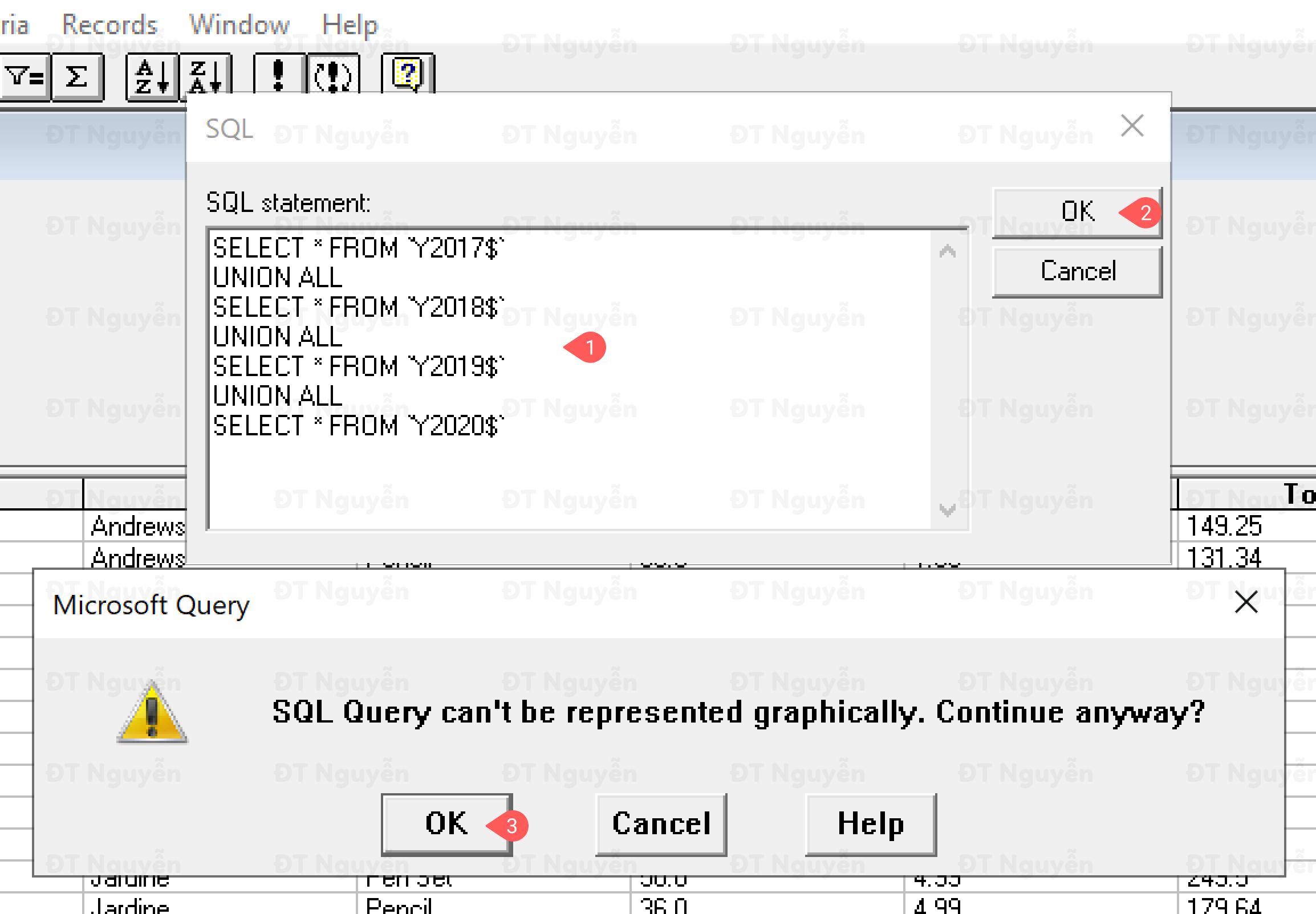 Sửa SQL trong Microsoft Query