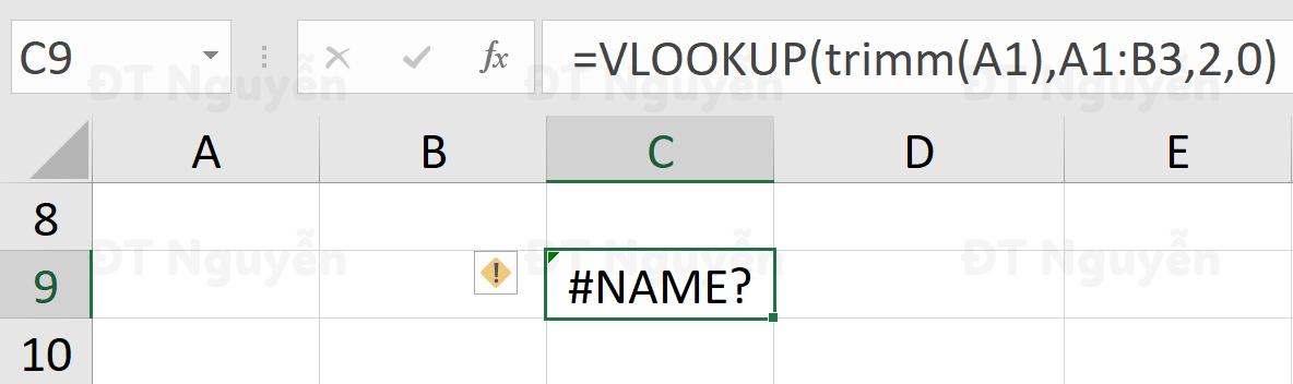 Xử lý lỗi Name trong công thức VLOOKUP