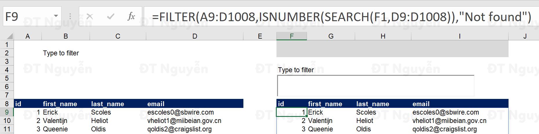 Cách sử dụng hàm Filter để lọc dữ liệu