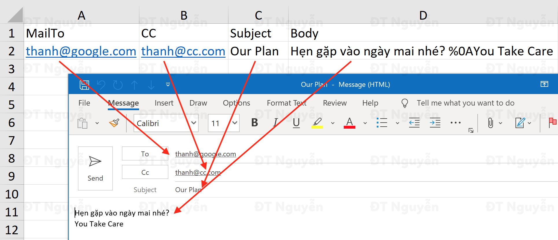 Gửi thư bằng hàm Hyperlink trong Excel