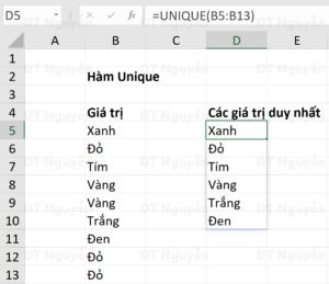 Hàm Unique lọc giá trị duy nhất trong Excel