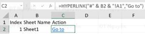 Tạo Hyperlink trong bảng tính đến sheet khác