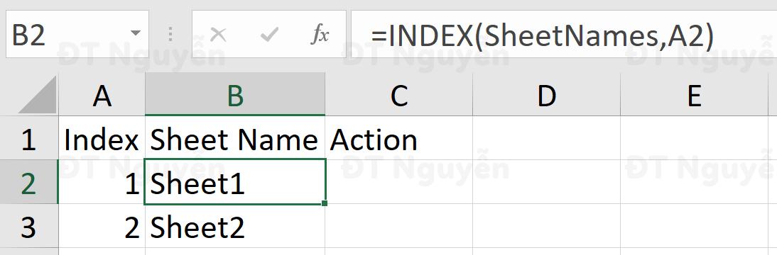 Thiết lập công thức với Name Range