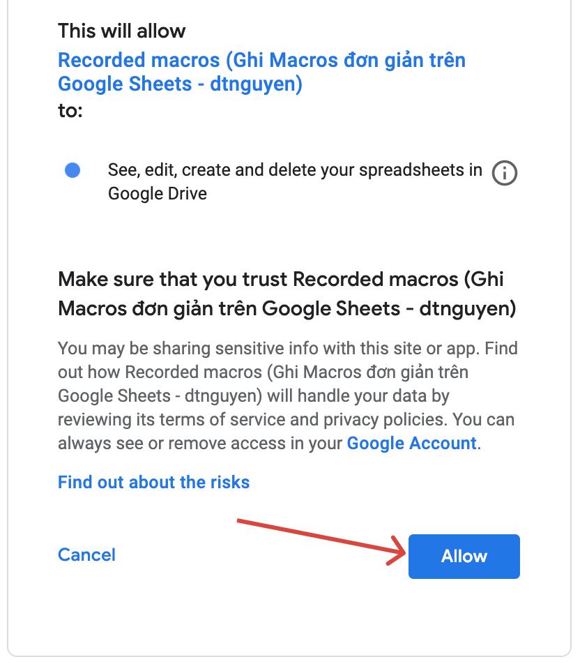 Click chọn Allow là macro sẽ chạy