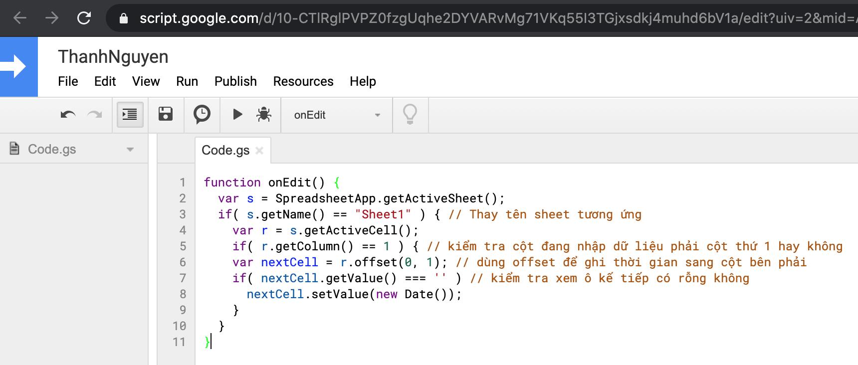 dan code vao script editor