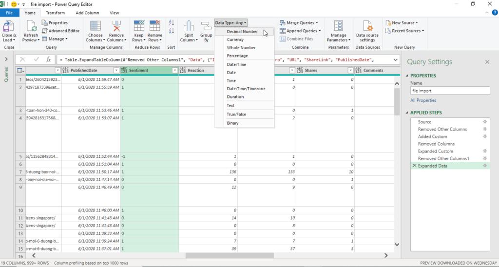 Đưa dữ liệu vào và xử lý trong Power Query
