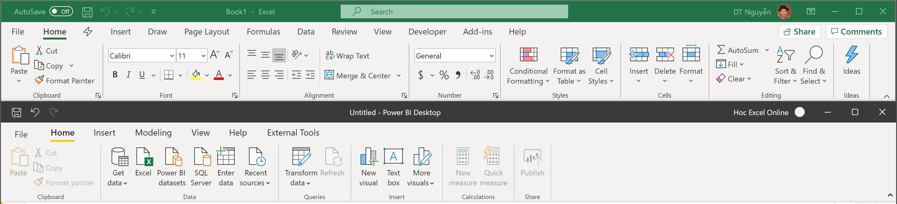 Ribbon của Excel và Ribbon của Power BI