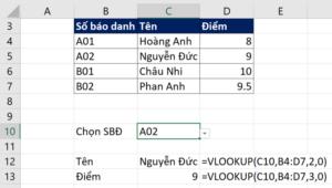 Hoàn thành hàm VLOOKUP tham chiếu tới ô chứa Data validation