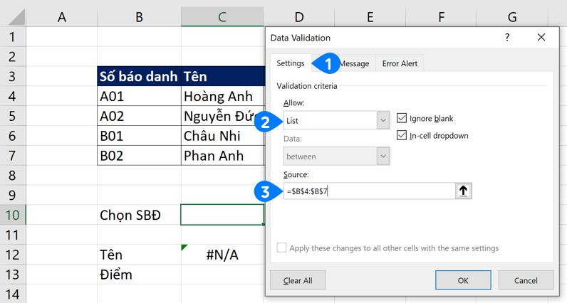 Thiết lập vùng dữ liệu cho Data Validation