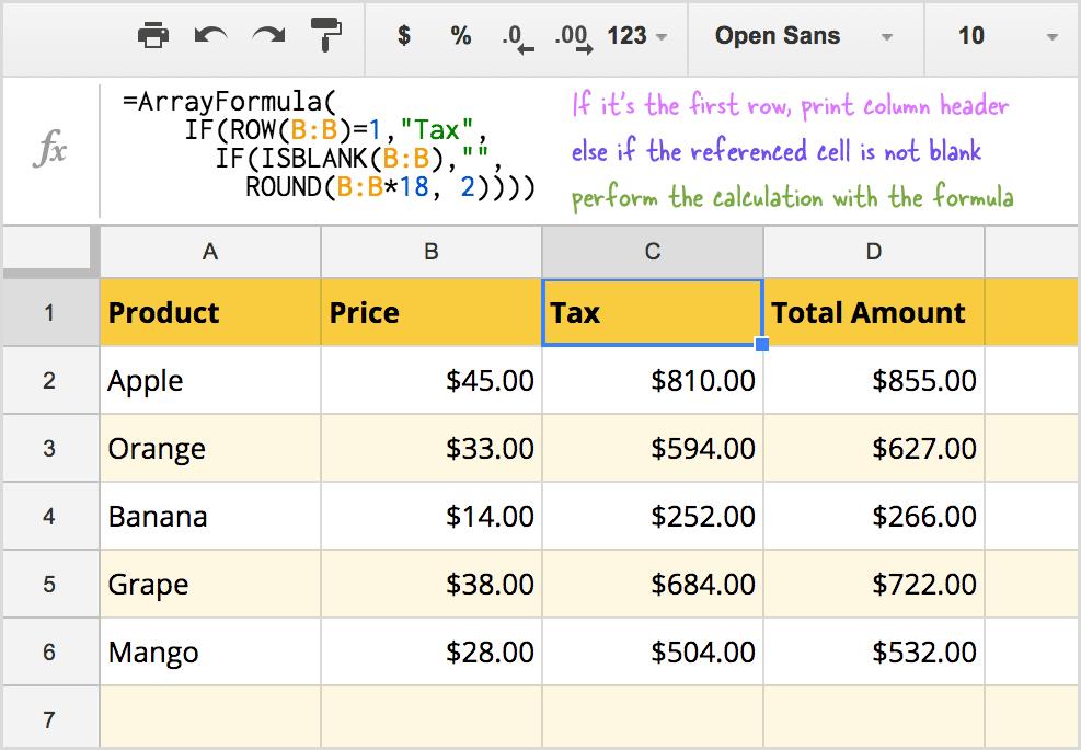 Sử dụng công thức mảng trong tiêu đề bảng