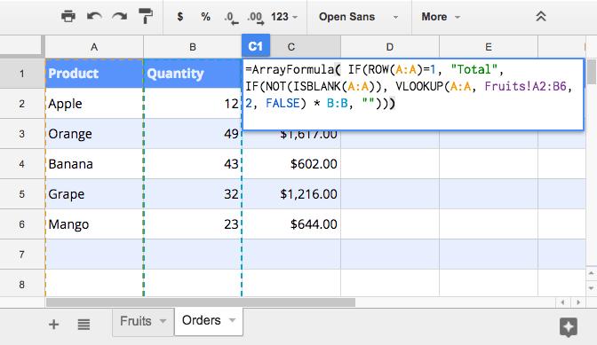 Sử dụng VLOOKUP và công thức mảng trong Google Sheets