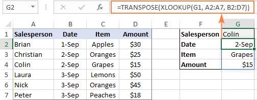 xlookup trả về nhiều dữ liệu với hàm transpose