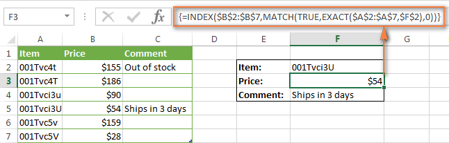 MATCH/ INDEX - tra cứu chữ hoa chữ thường cho tất cả các loại dữ liệu