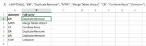 Cách dùng hàm Switch trong Excel 1