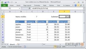 Cách tính tổng danh sách đã lọc trong Excel 1