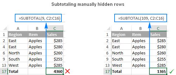 Excel SUBTOTAL 6