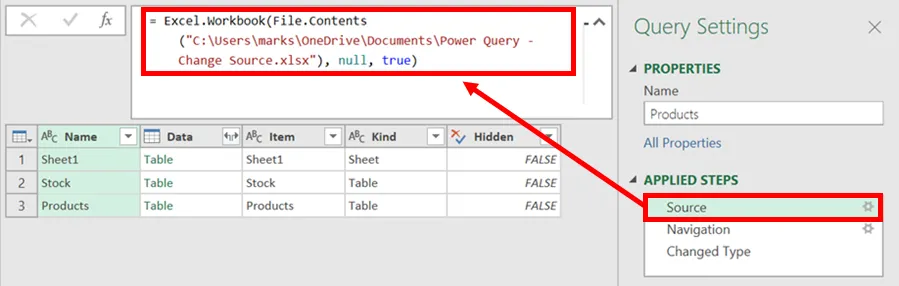 1- Thay đổi vị trí dữ liệu nguồn - power query