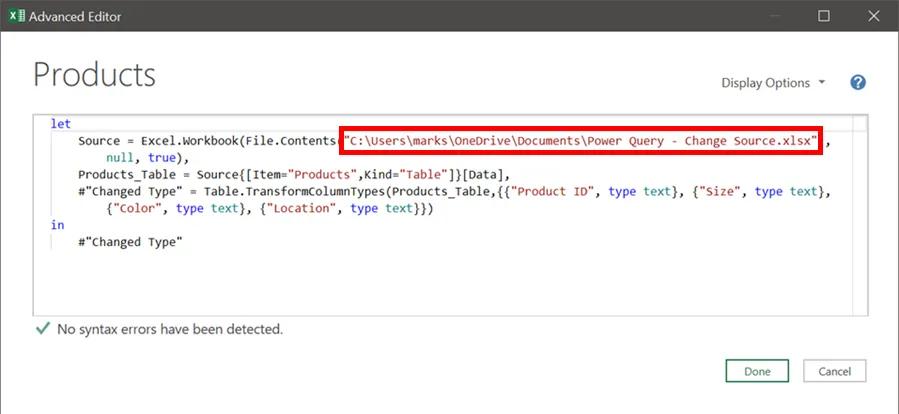 2-power query - thay đổi vị trí dữ liệu nguồn
