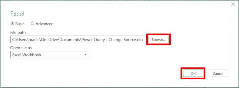 6-power query - thay đổi vị trí dữ liệu nguồn