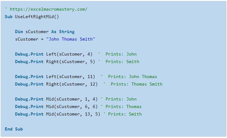 5- hướng dẫn cơ bản về hàm String VBA
