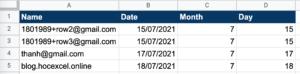 Bảng dữ liệu để gửi thư tự động