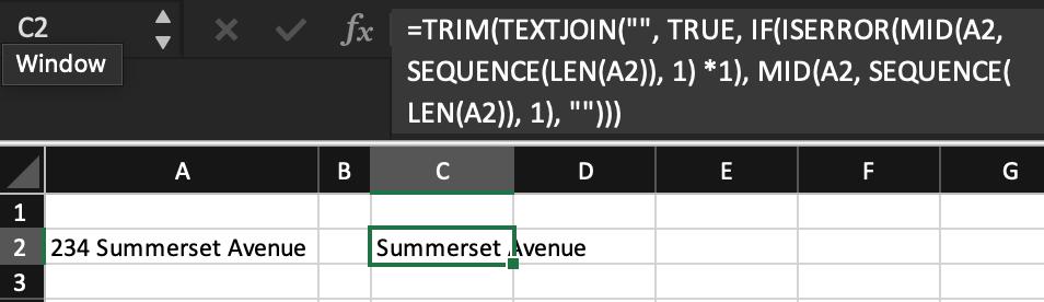 Cách loại bỏ số ra khỏi chữ trong ô Excel