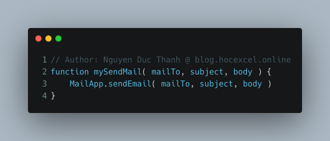 hàm gửi mail trong Google Apps Script
