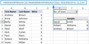 Lấy dòng ngẫu nhiên không trùng lặp trong Excel