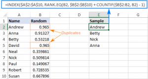 Lấy dữ liệu ngẫu nhiên sử dụng công thức Excel