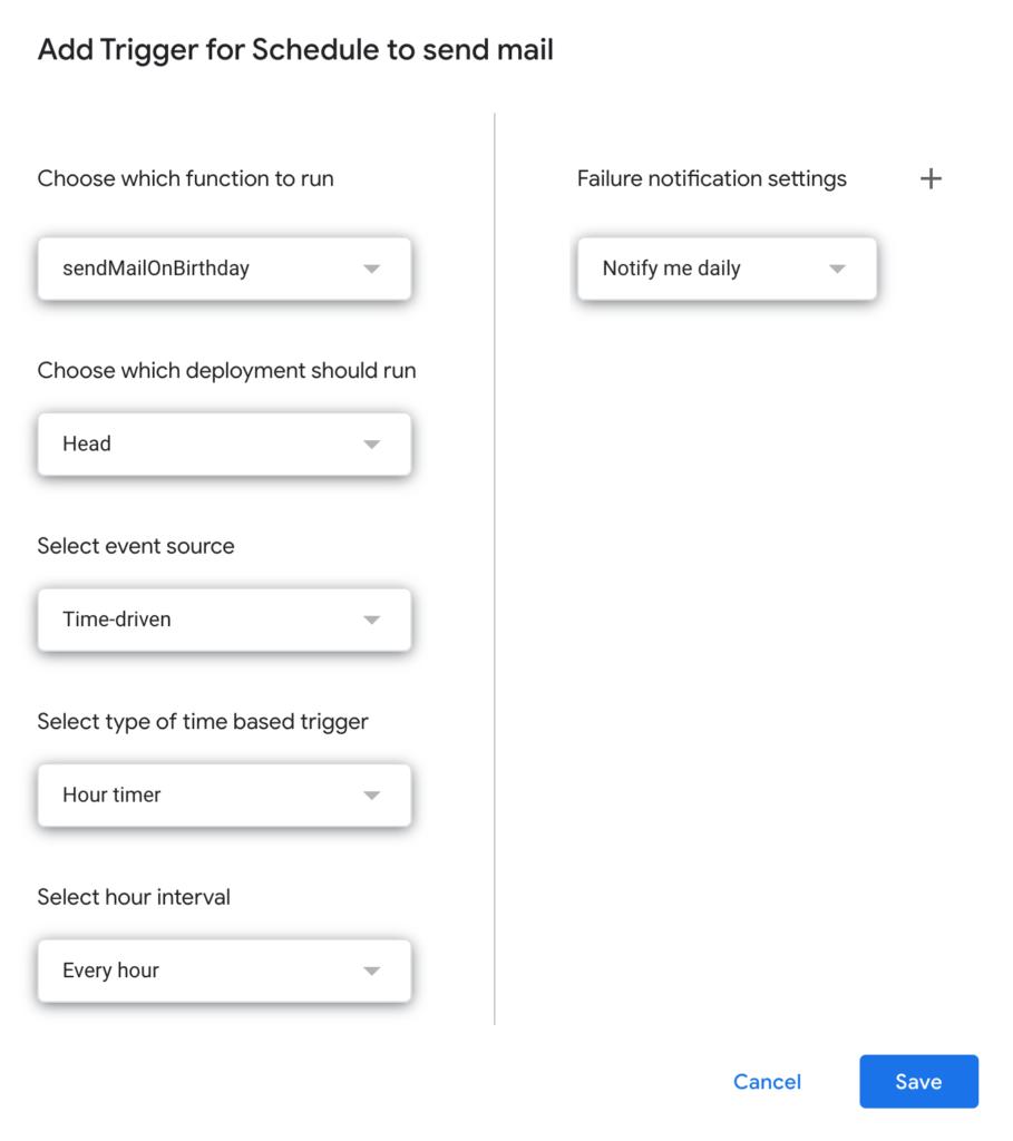 thiet lap trigger gui mail google app script