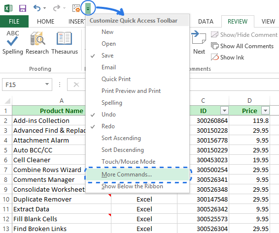 Click the More Commands option in the Customize QAT drop-down menu to open the Excel Options dialog