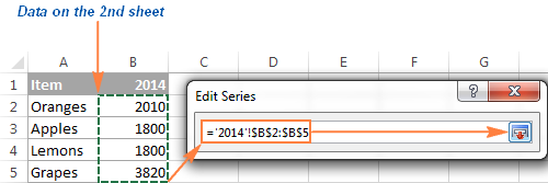 Select data on the second sheet you want to add to your Excel graph.