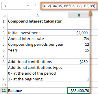 An advanced compound interest calculator for Excel