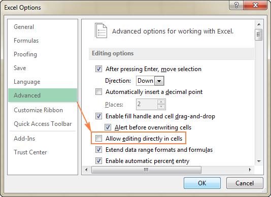 For the F2 key to position the cursor in the formula bar, uncheck the 'Allow editing directly in cells' option.