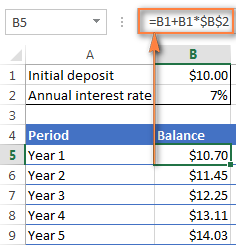 One more formula for calculating annual compound interest in Excel
