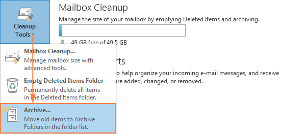 Archive in Outlook manually.